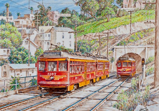 Harlan Hiney paintings for the Pasadena Museum of History Pacific Electric Railway Then and Now, 2012.  Image based on a photo by Donald Duke.   Photo by Steve Crise Steve Crise Photo 310 963 9265 scrise@aol.com www.scrise.com